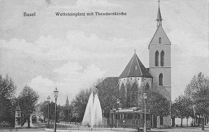 Wettsteinplatz und Theodorskirche um 1902